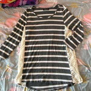 Tops - Like New Silky Gray and Lacy Shirt